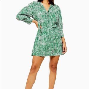 Topshop green animal print dress - tall